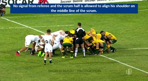 Law: 20.6 (d) How the scrum half throws in the ball